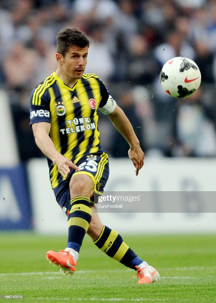 Emre Belezoglu of Fenerbahce SK in action during the Turkish Super League match between Besiktas and Fenerbahce at the Ataturk Olympic Stadium on April 20, 2014 in Istanbul,Turkey.