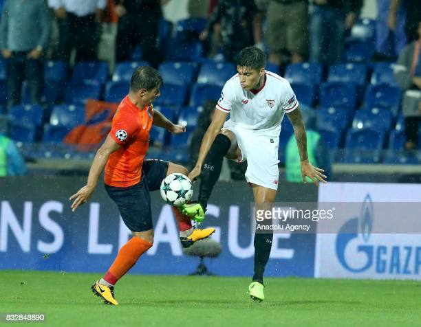 Emre Belezoglu of Medipol Basaksehir in action during the UEFA Champions League playoff match between Medipol Basaksehir and Sevilla FC at Basaksehir...