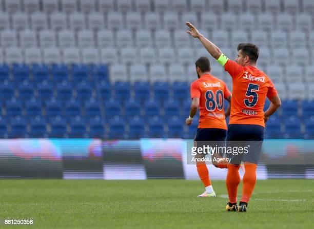 Emre Belozoglu of Medipol Basaksehir celebrates after scoring a goal during the Turkish Super Lig soccer match between Medipol Basaksehir and Aytemiz...