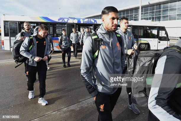 Emre Can and Dejan Lovren of Liverpool before departing for the group E Champions League match between Sevilla and Liverpool at Liverpool John Lennon...