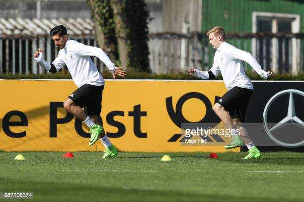 Emre Can and Julian Brandt are seen during training of German national team ahead of the FIFA World Cup qualification match 2018 against Azerbaijan...