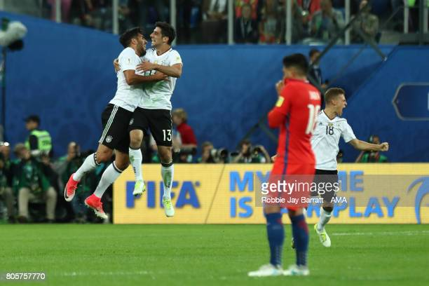 Emre Can and Lars Stindl of Germany celebrate at the end of the FIFA Confederations Cup Russia 2017 Final match between Chile and Germany at Saint...
