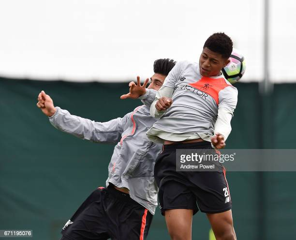 Emre Can and Rhian Brewster of Liverpool during a training session at Melwood Training Ground on April 21 2017 in Liverpool England