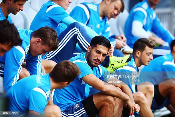 Emre Can and team mates prepare for a Germany training session at CommerzbankArena on September 3 2015 in Frankfurt am Main Germany