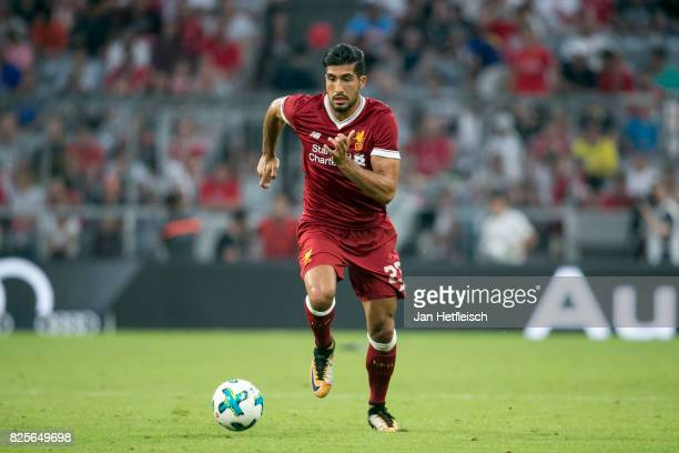 Emre Can of FC Liverpool controls the ball during the Audi Cup 2017 match between Liverpool FC and Atletico Madrid at Allianz Arena on August 2 2017...