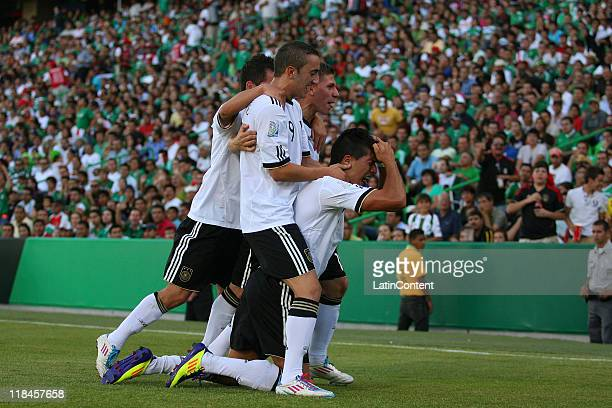 Emre Can of Germany celebrates a scored goal against Mexico during the FIFA U17 World Cup Mexico 2011 Semi Final match between Germany and Mexico at...