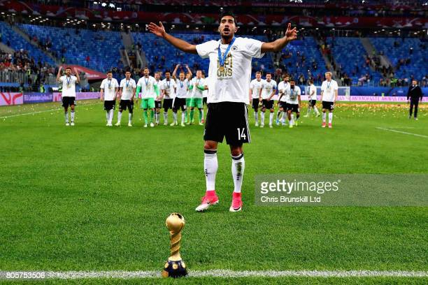 Emre Can of Germany celebrates with the trophy after the FIFA Confederations Cup Russia 2017 Final match between Chile and Germany at Saint...