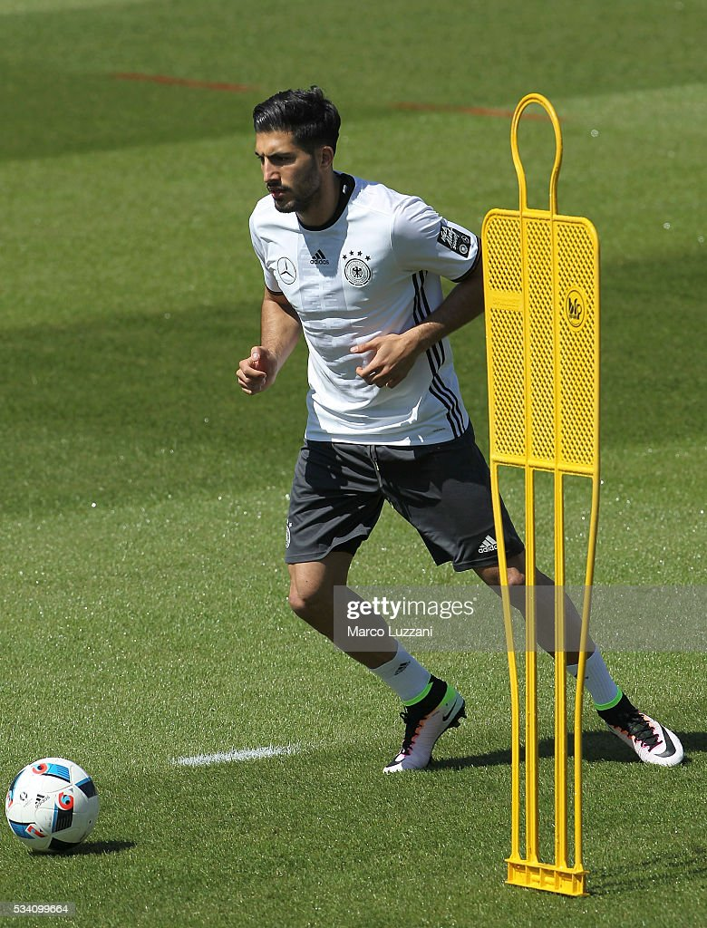 <a gi-track='captionPersonalityLinkClicked' href=/galleries/search?phrase=Emre+Can&family=editorial&specificpeople=5909273 ng-click='$event.stopPropagation()'>Emre Can</a> of Germany in action during the German national team's pre-EURO 2016 training camp on May 25, 2016 in Ascona, Switzerland.