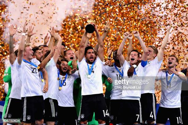 Emre Can of Germany lifts the FIFA Confederations Cup trophy after the FIFA Confederations Cup Russia 2017 Final match between Chile and Germany at...