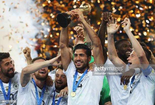 Emre Can of Germany lifts the FIFA Confederations Cup trophy after the FIFA Confederations Cup Russia 2017 Final between Chile and Germany at Saint...
