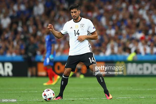 Emre Can of Germany runs with the ball during the UEFA EURO 2016 semi final match between Germany and France at Stade Velodrome on July 7 2016 in...