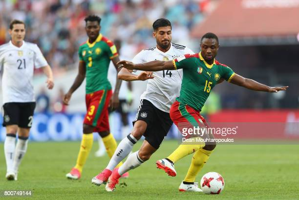 Emre Can of Germany tackles Sebastien Siani of Cameroon during the FIFA Confederations Cup Russia 2017 Group B match between Germany and Cameroon at...