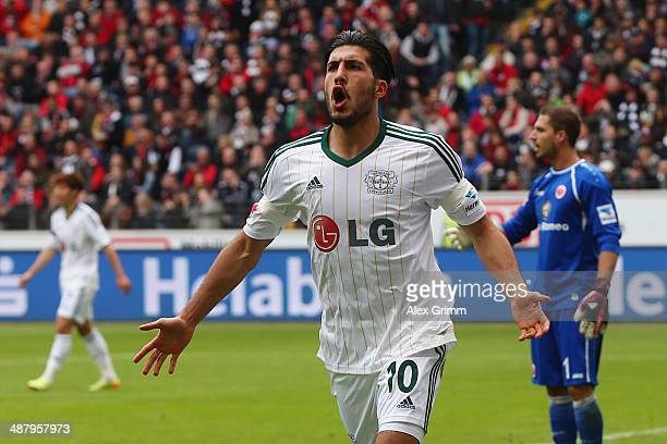 Emre Can of Leverkusen celebrates his team's second goal during the Bundesliga match between Eintracht Frankfurt and Bayer Leverkusen at Commerzbank...