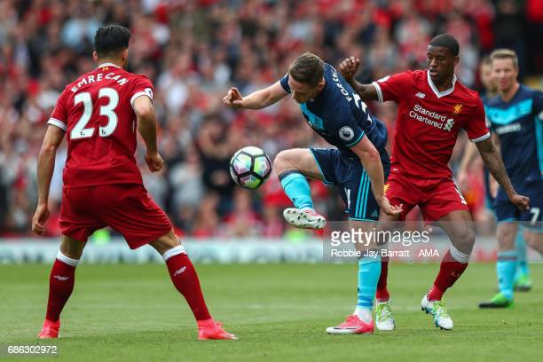 Emre Can of Liverpool and Adam Forshaw of Middlesbrough during the Premier League match between Liverpool and Middlesbrough at Anfield on May 21 2017...