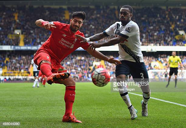 Emre Can of Liverpool and Danny Rose of Tottenham Hotspur compete for the ball during the Barclays Premier League match between Tottenham Hotspur and...