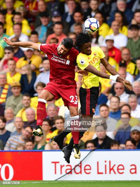 Emre Can of Liverpool and Nathaniel Chalobah of Watford battle for possession during the Premier League match between Watford and Liverpool at...