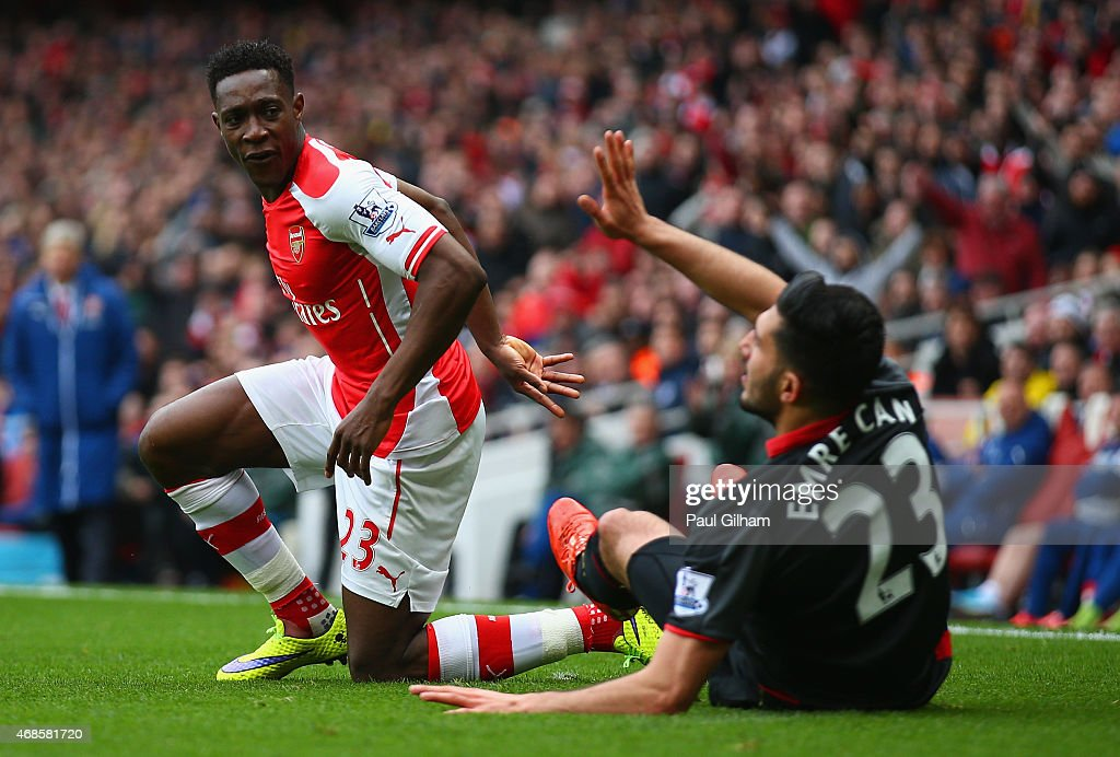 Emre Can of Liverpool appeals after fouling Danny Welbeck of Arsenal during the Barclays Premier League match between Arsenal and Liverpool at...