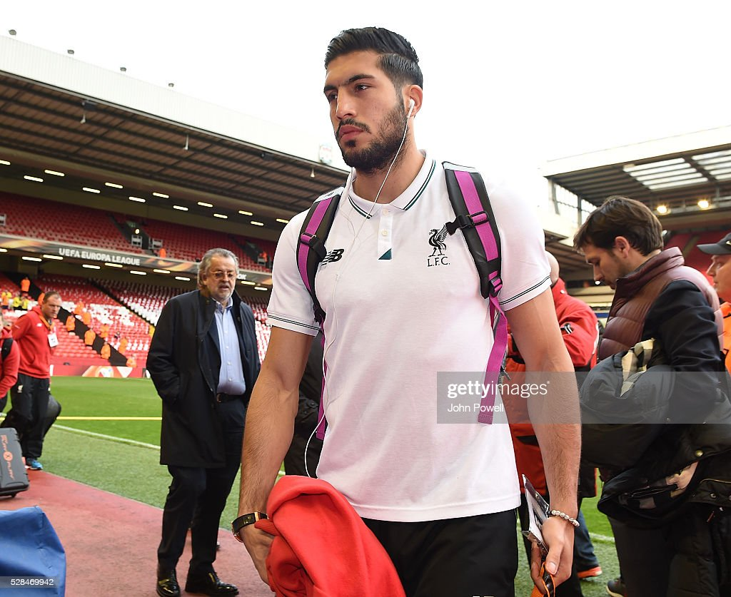 <a gi-track='captionPersonalityLinkClicked' href=/galleries/search?phrase=Emre+Can&family=editorial&specificpeople=5909273 ng-click='$event.stopPropagation()'>Emre Can</a> of Liverpool arrives before the UEFA Europa League Semi Final: Second Leg match between Liverpool and Villarreal CF at Anfield on May 05, 2016 in Liverpool, England.
