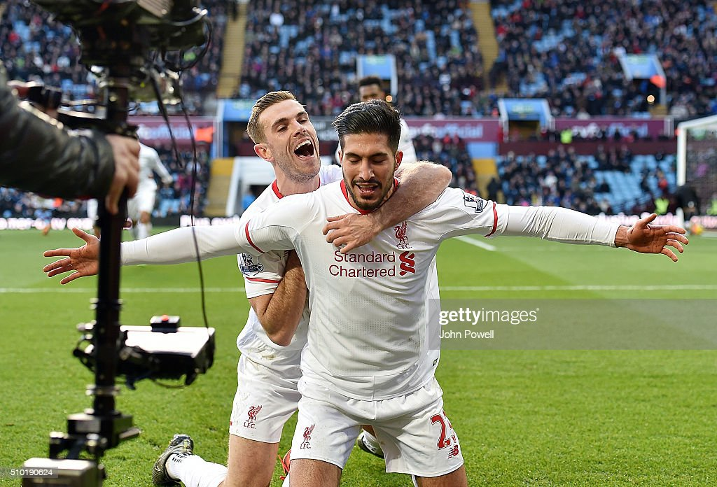 <a gi-track='captionPersonalityLinkClicked' href=/galleries/search?phrase=Emre+Can&family=editorial&specificpeople=5909273 ng-click='$event.stopPropagation()'>Emre Can</a> of Liverpool celebrates after scoring during the Barclays Premier League match between Aston Villa and Liverpool at Villa Park on February 14, 2016 in Birmingham, England.