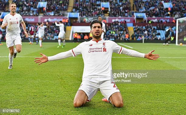 Emre Can of Liverpool celebrates after scoring during the Barclays Premier League match between Aston Villa and Liverpool at Villa Park on February...