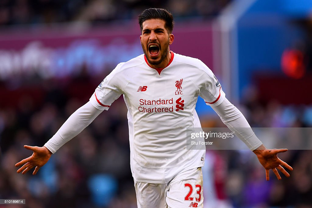 <a gi-track='captionPersonalityLinkClicked' href=/galleries/search?phrase=Emre+Can&family=editorial&specificpeople=5909273 ng-click='$event.stopPropagation()'>Emre Can</a> of Liverpool celebrates after scoring his team's third goal during the Barclays Premier League match between Aston Villa and Liverpool at Villa Park on February 14, 2016 in Birmingham, England.