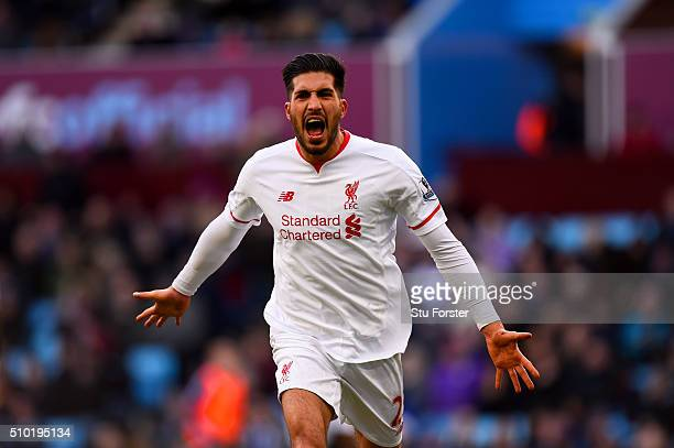 Emre Can of Liverpool celebrates after scoring his team's third goal during the Barclays Premier League match between Aston Villa and Liverpool at...