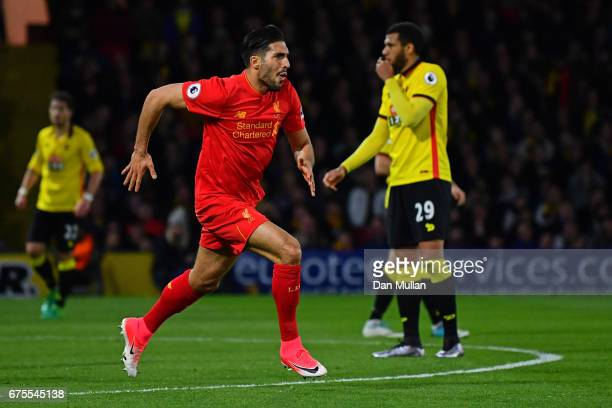 Emre Can of Liverpool celebrates after scoring the opening goal during the Premier League match between Watford and Liverpool at Vicarage Road on May...