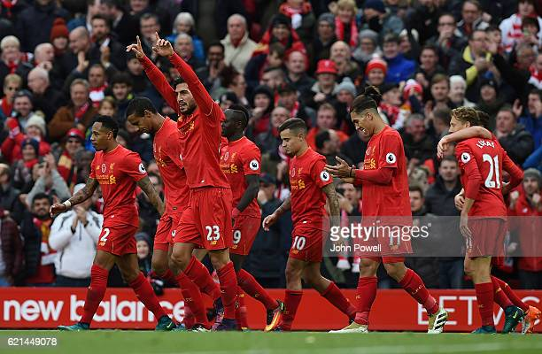 Emre Can of Liverpool celebrates after scoring the third goal during the Premier League match between Liverpool and Watford at Anfield on November 6...