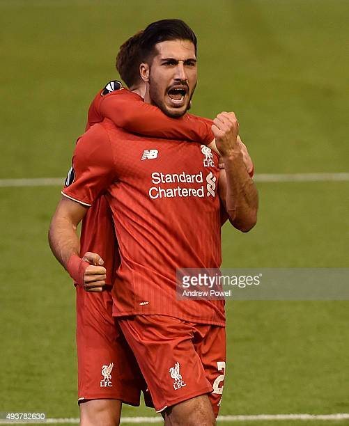 Emre Can of Liverpool celebrates his goal during the UEFA Europa League match between Liverpool FC and FC Rubin Kazan on October 22 2015 in Liverpool...