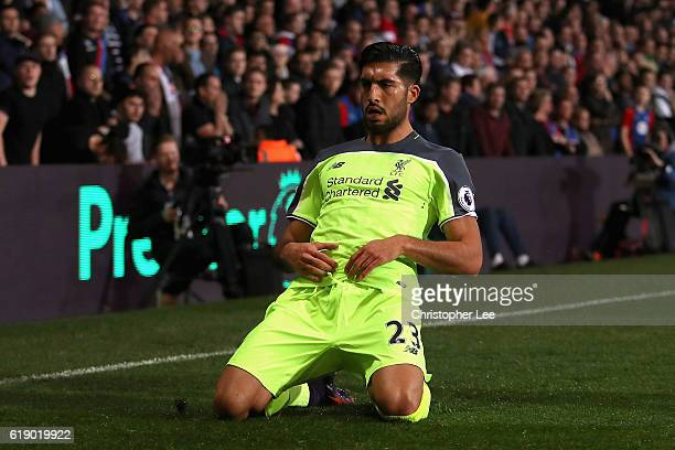 Emre Can of Liverpool celebrates scoring his team's first goal during the Premier League match between Crystal Palace and Liverpool at Selhurst Park...