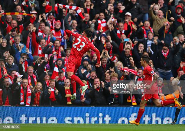 Emre Can of Liverpool celebrates scoring the opening goal during the Barclays Premier League match between Liverpool and Chelsea at Anfield on...