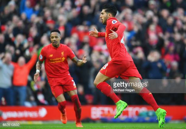 Emre Can of Liverpool celebrates with Nathaniel Clyne as he as he scores their second goal during the Premier League match between Liverpool and...
