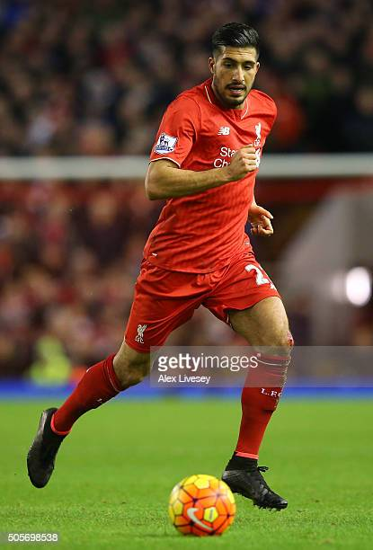 Emre Can of Liverpool chases the ball during the Barclays Premier League match between Liverpool and Arsenal at Anfield on December 13 2016 in...
