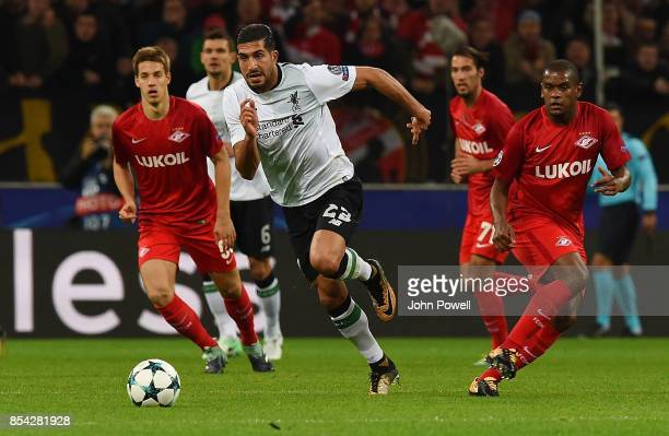 Emre Can of Liverpool competes with Fernando of Spartak Moskva during the UEFA Champions League group E match between Spartak Moskva and Liverpool FC...