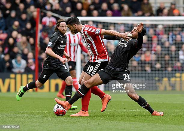 Emre Can of Liverpool competes with Graziano Pelle of Southampton during the Barclays Premier League match between Southampton and Liverpool at St...