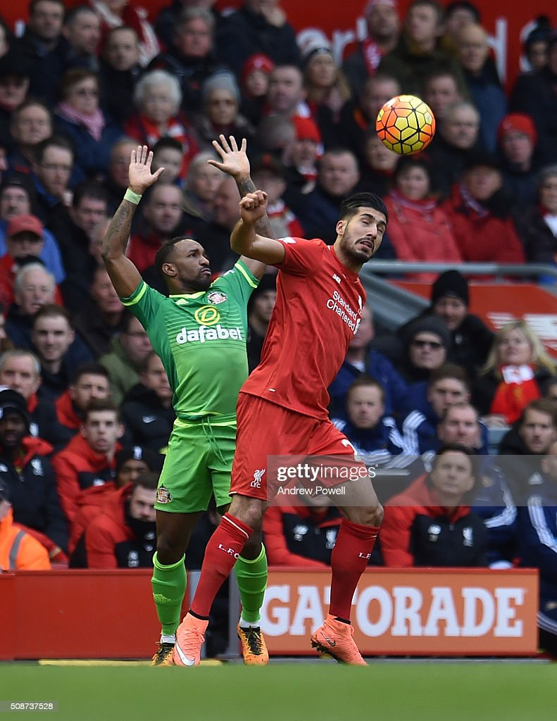 <a gi-track='captionPersonalityLinkClicked' href=/galleries/search?phrase=Emre+Can&family=editorial&specificpeople=5909273 ng-click='$event.stopPropagation()'>Emre Can</a> of Liverpool competes with <a gi-track='captionPersonalityLinkClicked' href=/galleries/search?phrase=Jermain+Defoe&family=editorial&specificpeople=171106 ng-click='$event.stopPropagation()'>Jermain Defoe</a> of Sunderland during the Barclays Premier League match between Liverpool and Sunderland at Anfield on February 6, 2016 in Liverpool, England.