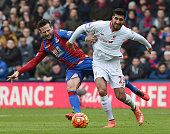 Emre Can of Liverpool competes with Yohan Cabaye of Crystal Palace during the Barclays Premier League match between Crystal Palace and Liverpool at...