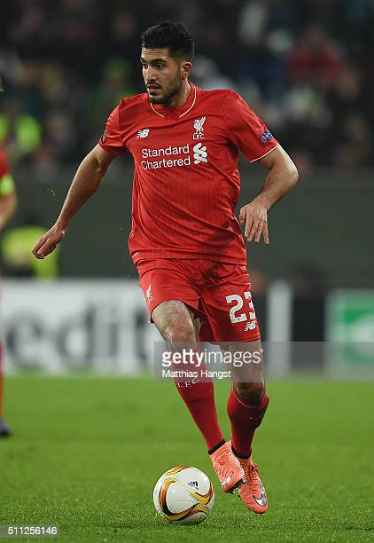 Emre Can of Liverpool controls the ball during the UEFA Europa League round of 32 first leg match between FC Augsburg and Liverpool at WWKArena on...