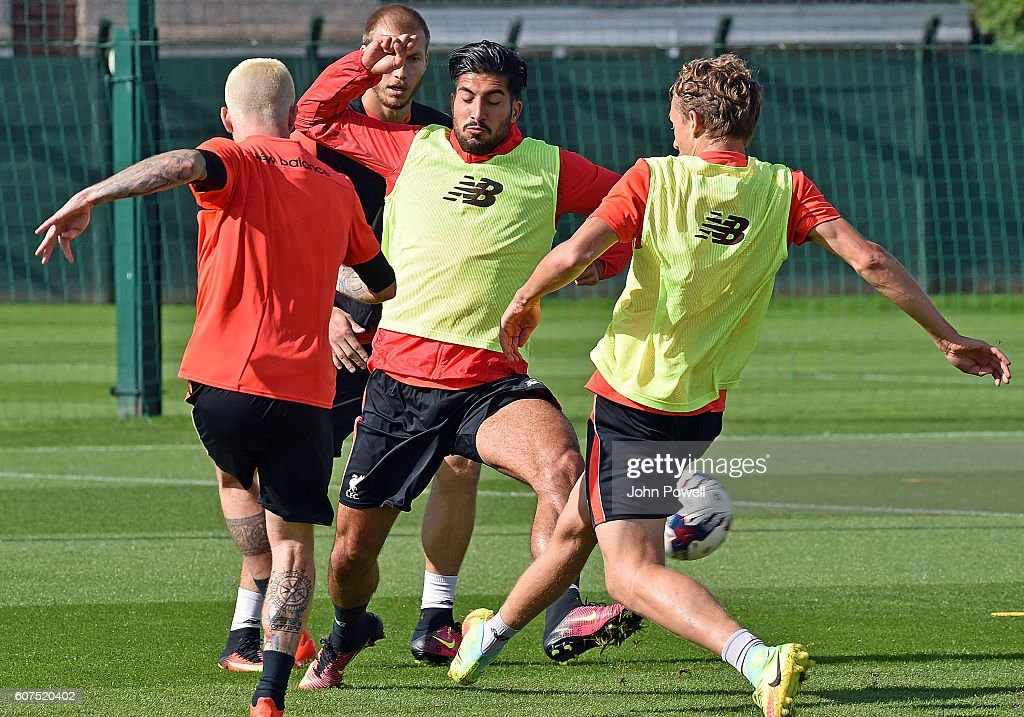 Emre Can of Liverpool during a training session at Melwood Training Ground on September 18, 2016 in Liverpool, England.