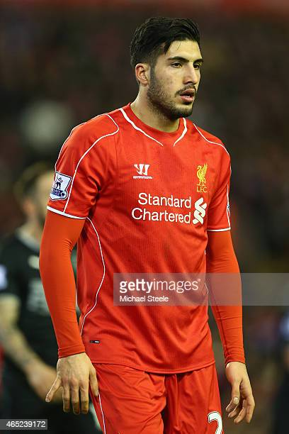 Emre Can of Liverpool during the Barclays Premier League match between Liverpool and Burnley at Anfield on March 4 2015 in Liverpool England