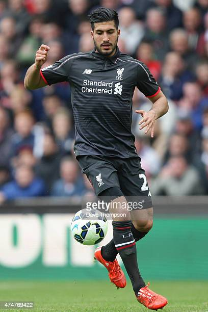 Emre Can of Liverpool during the Barclays Premier League match between Stoke City and Liverpool at the Britannia Stadium on May 24 2015 in...