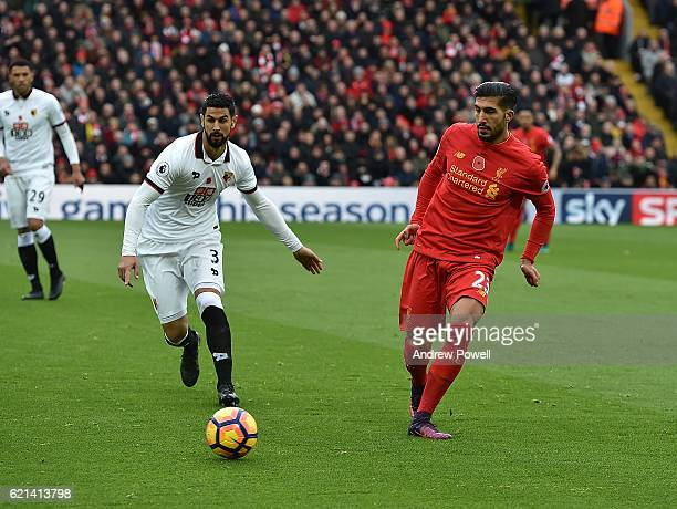 Emre Can of Liverpool during the Premier League match between Liverpool and Watford at Anfield on November 6 2016 in Liverpool England