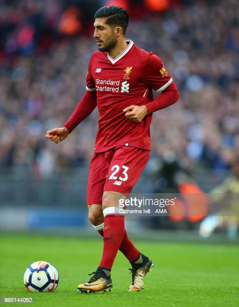 Emre Can of Liverpool during the Premier League match between Tottenham Hotspur and Liverpool at Wembley Stadium on October 22 2017 in London England