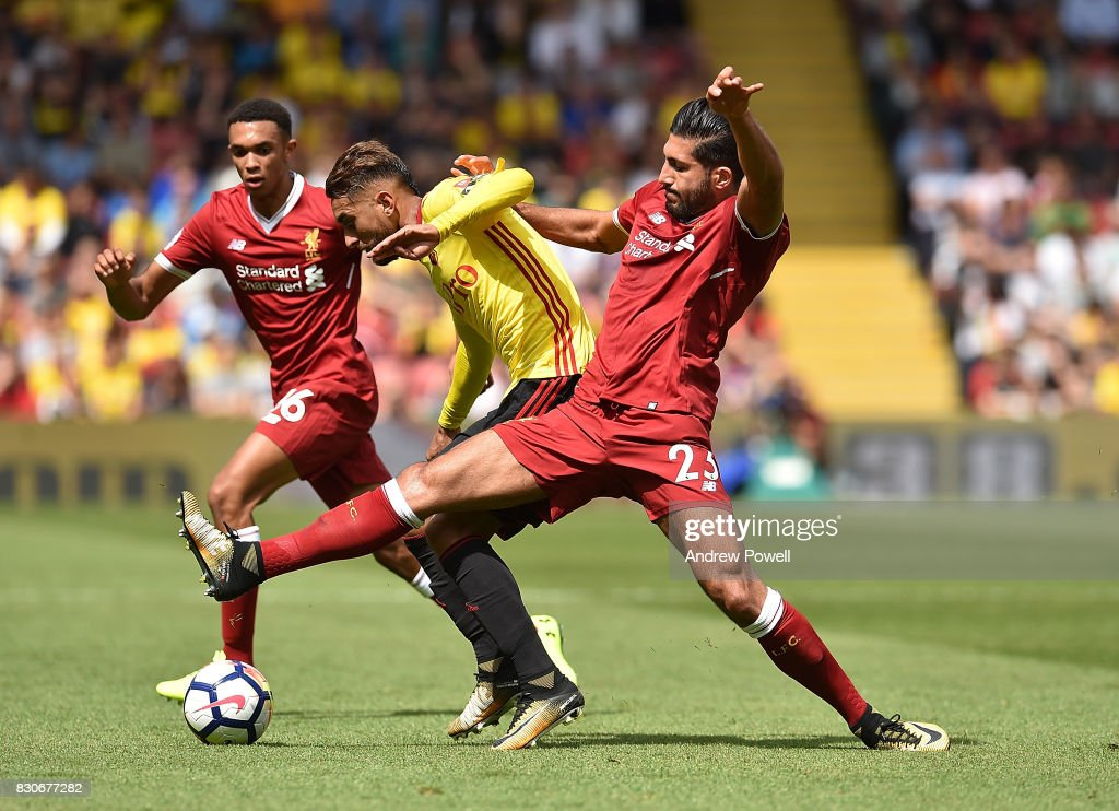 Emre Can of Liverpool during the Premier League match between Watford and Liverpool at Vicarage Road on August 12, 2017 in Watford, England.