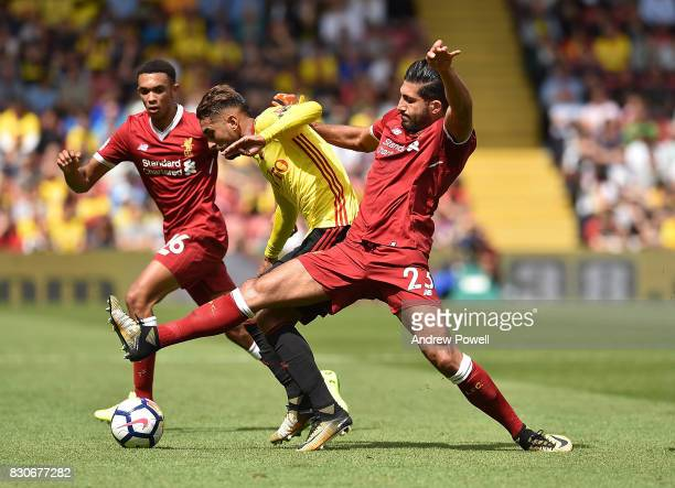 Emre Can of Liverpool during the Premier League match between Watford and Liverpool at Vicarage Road on August 12 2017 in Watford England