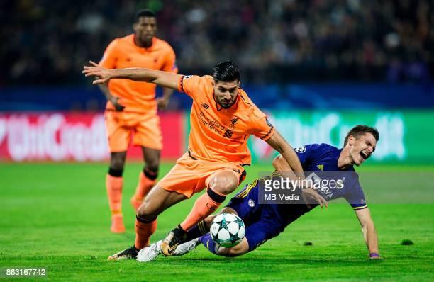 Emre Can of Liverpool FC vs Blaz Vrhovec of NK Maribor during UEFA Champions League 2017/18 group E match between NK Maribor and Liverpool FC at...