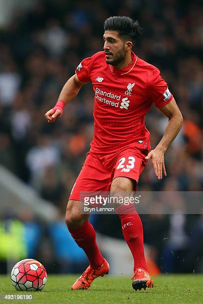 Emre Can of Liverpool in action during the Barclays Premier League match between Tottenham Hotspur and Liverpool at White Hart Lane on October 17...