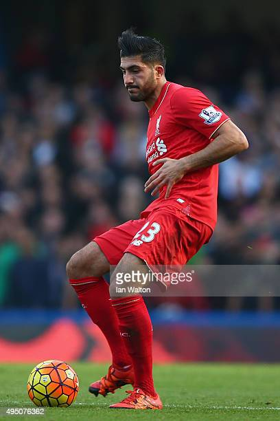 Emre Can of Liverpool in action during the Barclays Premier League match between Chelsea and Liverpool at Stamford Bridge on October 31 2015 in...