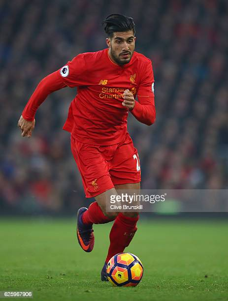 Emre Can of Liverpool in action during the Premier League match between Liverpool and Sunderland at Anfield on November 26 2016 in Liverpool England