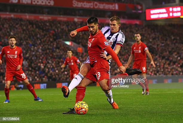 Emre Can of Liverpool is challenged by Darren Fletcher of West Bromwich Albion during the Barclays Premier League match between Liverpool and West...